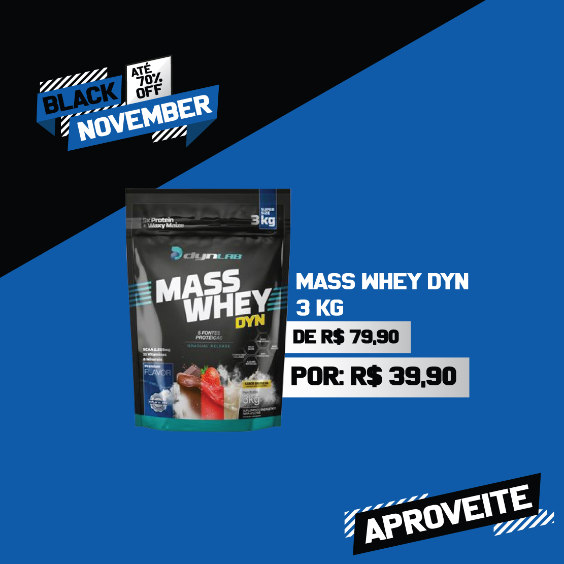 Mass Whey - R$79,90 por R$39,90
